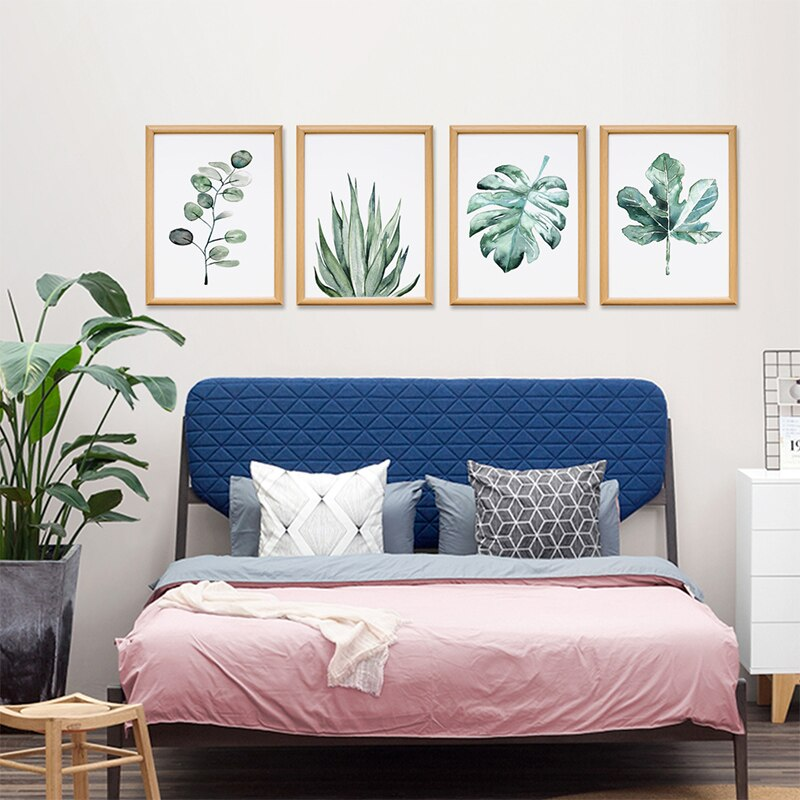 Art Zone Green Plant Leaves Art Poster Wall Print Canvas Painting Home Living Room Bedroom Decor Painting Plant Picture Improve Your House And Yourself